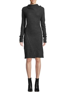 Helmut Lang Mohair-Blend High-Neck Long-Sleeve Dress