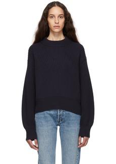 Helmut Lang Navy Wool & Cotton Sweater