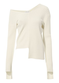 Helmut Lang Off Shoulder Rib Knit Sweater