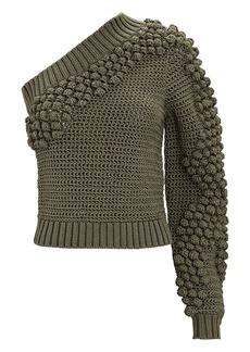 Helmut Lang One-Shoulder Pom-Pom Sweater