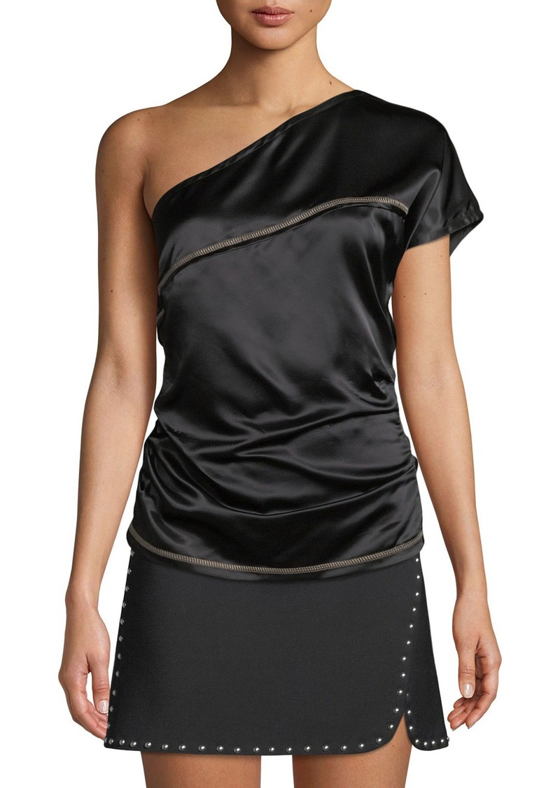 Helmut Lang One-Shoulder Viscose Top with Contrast Stitching