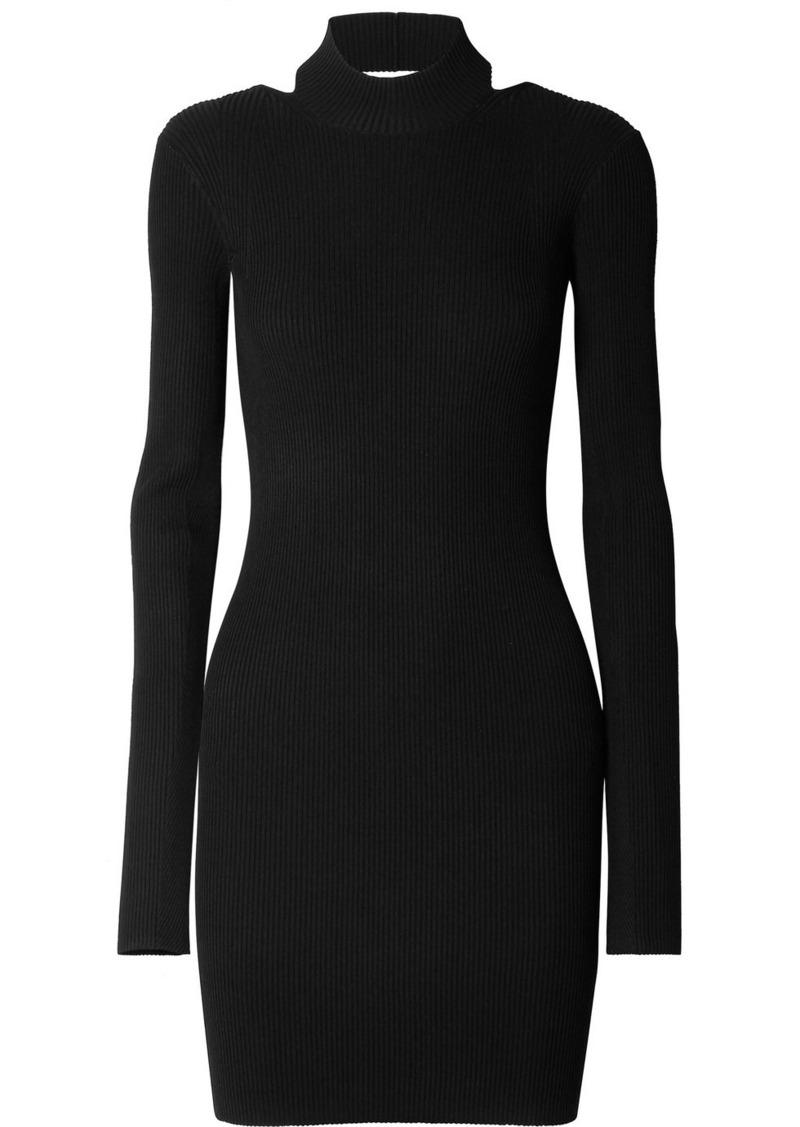 Helmut Lang Open-back Ribbed-knit Mini Dress
