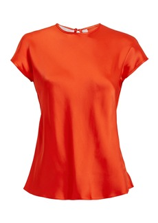 Helmut Lang Orange-Red Satin Cap Sleeve Top