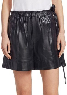 Helmut Lang Paperbag Drawstring Waist Leather Shorts