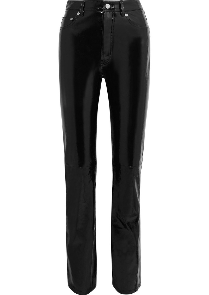 Helmut Lang Patent-leather Straight-leg Pants