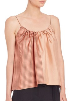 Helmut Lang Pieced Scarf-Print Silk Camisole Top