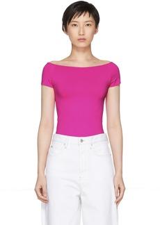Helmut Lang Pink Seamless Open Boat Neck T-Shirt