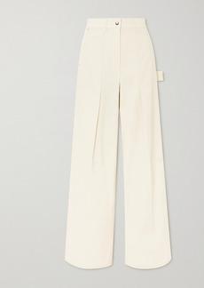 Helmut Lang Pleated Cotton-twill Straight-leg Pants