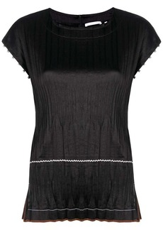 Helmut Lang pleated embellished blouse