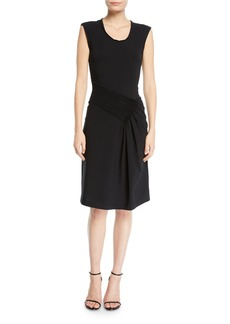 Helmut Lang Pleated Scoop-Neck Jersey Dress