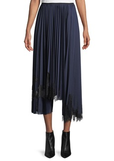 Helmut Lang Pleated Tricot Lace-Detail Midi Skirt