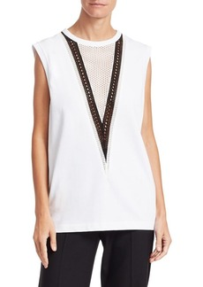 Helmut Lang Pointelle Chevron Tank Top