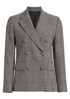Helmut Lang Prince of Wales Check Virgin-Wool Double-Breasted Blazer