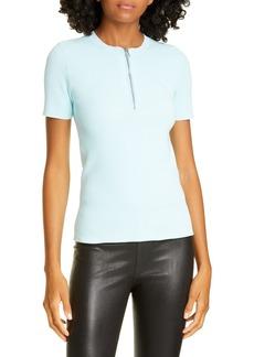 Helmut Lang Quarter Zip Ribbed T-Shirt