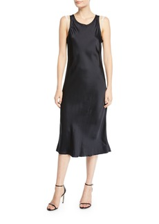 Helmut Lang Raw-Edge Viscose Tank Dress with Strap Details