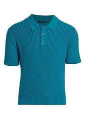 Helmut Lang Ribbed Cotton Knit Polo Shirt