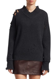 Helmut Lang Ribbed Distress Wool Sweater