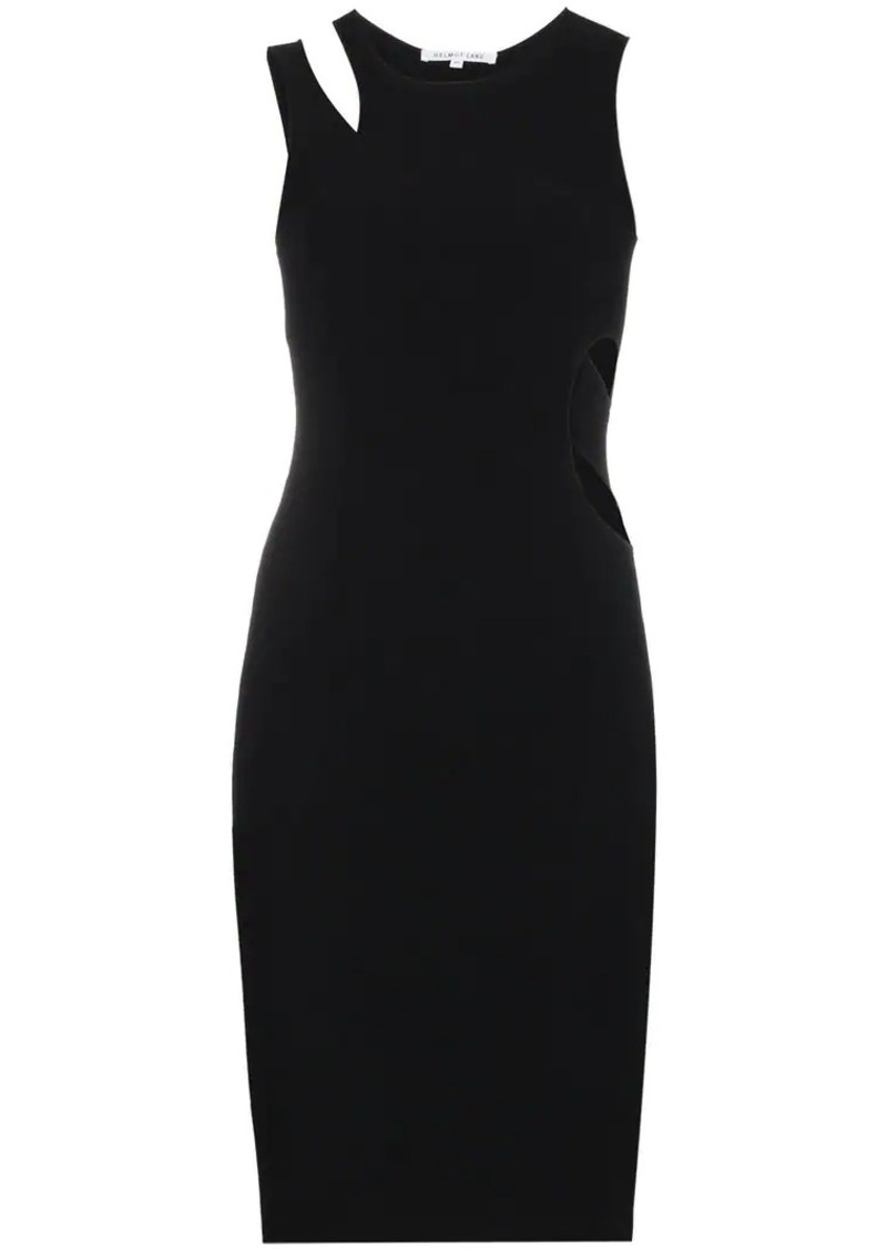 Helmut Lang Ribbed jersey cut out dress