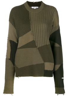 Helmut Lang ribbed knit patchwork sweater