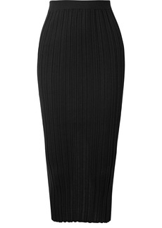 Helmut Lang Ribbed Merino Wool-blend Midi Skirt