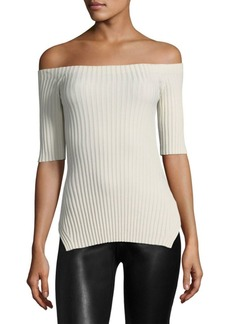 Helmut Lang Ribbed Off-the-Shoulder Silk Top