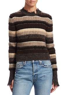 Helmut Lang Ribbed Ombré Stripe Cropped Sweater