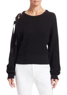 Helmut Lang Ribbed Tie-Shoulder Crewneck Sweater
