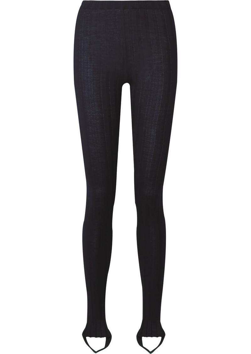 Helmut Lang Ribbed Wool-blend Stirrup Leggings