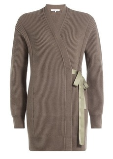 Helmut Lang Ribbed Wool-Cashmere Cardigan Wrap