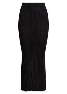 Helmut Lang Ribbed Wool Midi Skirt