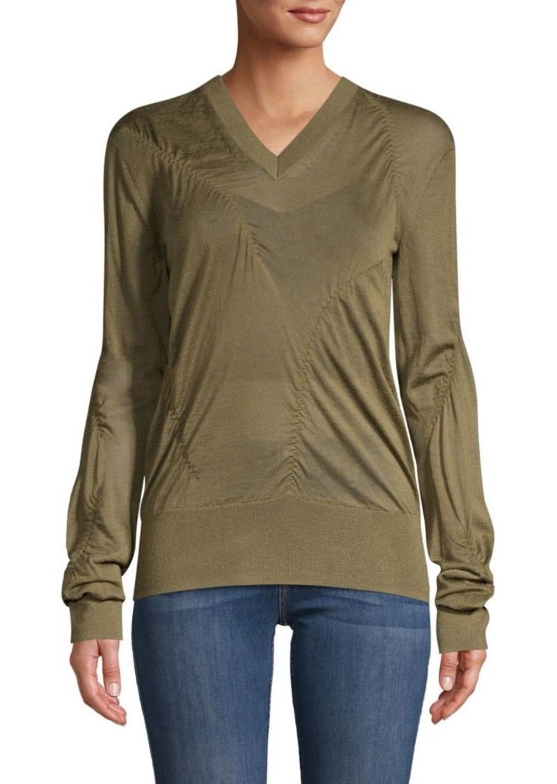 Helmut Lang Ruched Cashmere-Blend Sweater