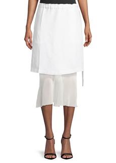 Helmut Lang Ruched-Waist Linen Skirt with Contrast Hem