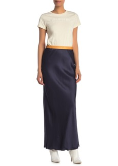 Helmut Lang Satin Colorblock Slip Maxi Skirt