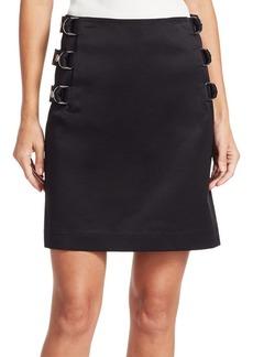 Helmut Lang Buckled Satin A-Line Skirt