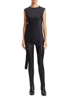 Helmut Lang Satin Draped-Hem Muscle Tee