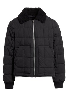 Helmut Lang Shearling-Collar Quilted Bomber Jacket