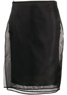 Helmut Lang sheer multiple layered silk skirt