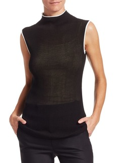 Helmut Lang Sheer Ribbed Turtleneck Tank Top