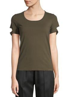 Helmut Lang Short-Sleeve Scoop-Neck Slash Tee