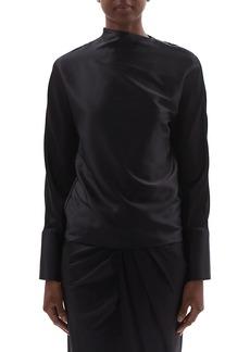 Helmut Lang Silk-Satin Long-Sleeve Blouse