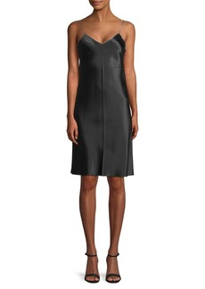 Helmut Lang Silk Zip-Accented Slip Dress