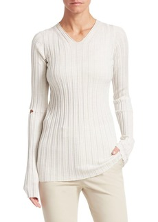 Helmut Lang Slash Wool Ribbed Sweater