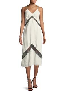 Helmut Lang Sleeveless Lace Slip Midi Dress
