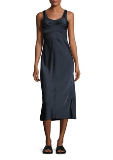 Helmut Lang Sleeveless Ruched Satin Slip Dress