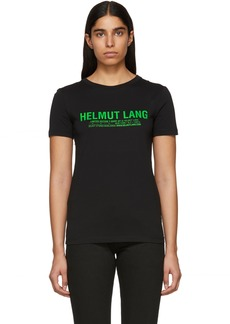 Helmut Lang SSENSE Exclusive Black & Green Logo T-Shirt