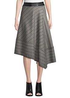 Helmut Lang Striped Basketweave Asymmetric Midi Skirt