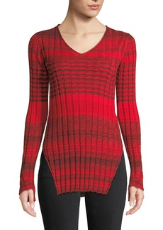 Helmut Lang Striped Ribbed Merino Wool V-Neck Sweater