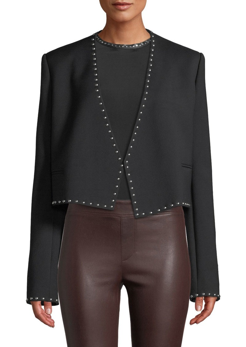 Helmut Lang Studded Cropped Open-Front Suit Jacket