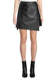 Helmut Lang Studded Leather Wrap Mini Skirt