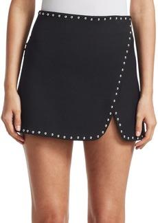 Helmut Lang Studded Overlap Mini Skirt